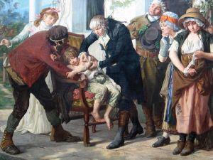 Gaston Mélingue (1840-1914). Jenner inoculant la vaccine (1879)